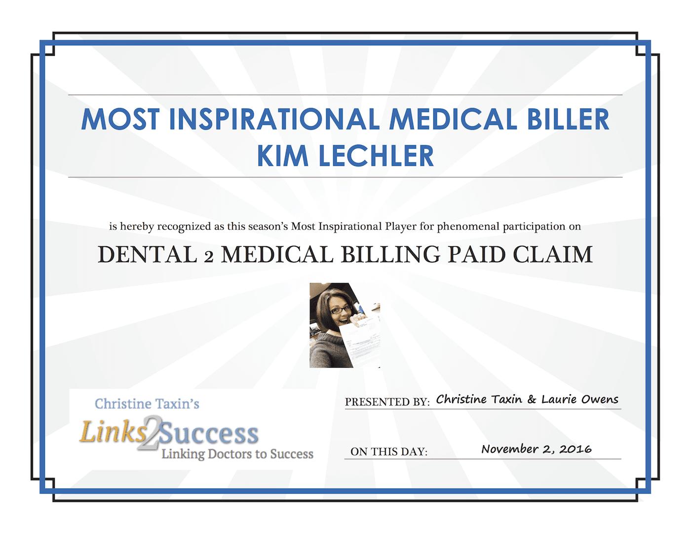 certificate example medical dental billing