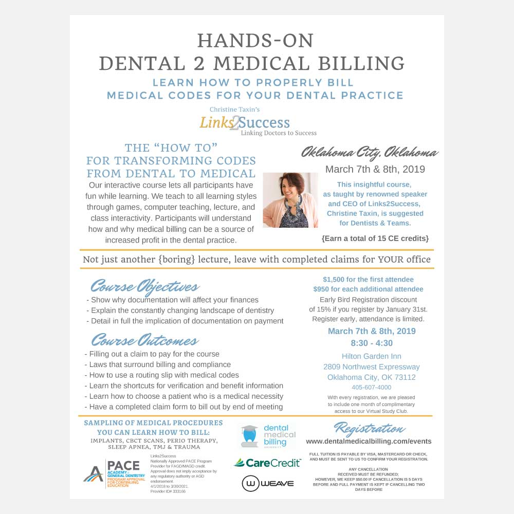 2019 2 Day Hands on Dental Medical Billing in Oklahoma City, OK at